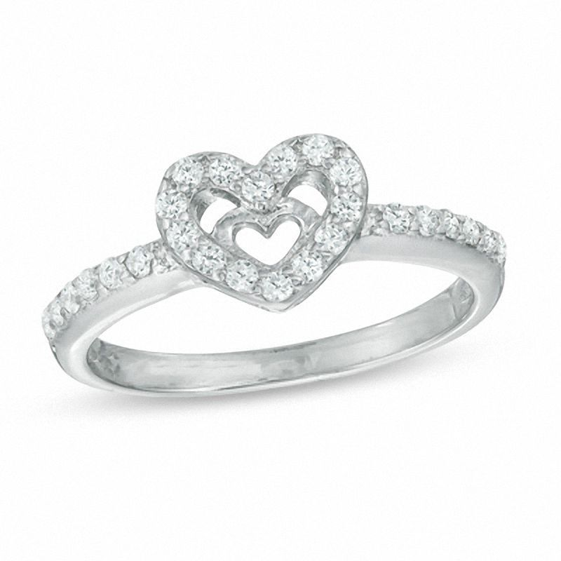 Sterling Silver CZ Heart Ring Many Sizes