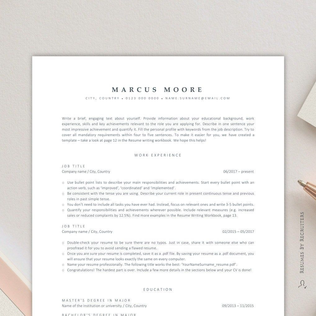 Ats resume template for word instant download ats friendly