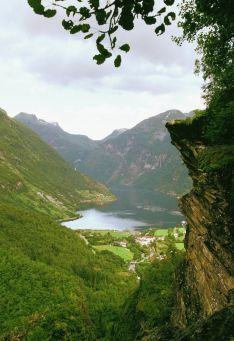 Aerial view of a river passing through a mountain range, Fjord, Geiranger, Norway