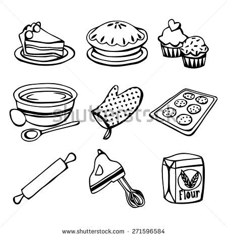A Black And White Vector Illustration Baking Related Icons Like Cake Pie Cupcakes Mixing Bowl Ove Food Art Painting Cupcake Tattoos Clipart Black And White