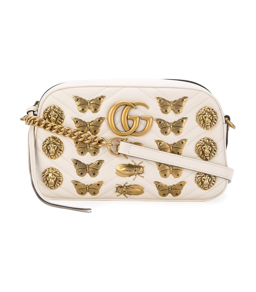 ee05363e750972 GUCCI White Gg Marmont Butterfly Bag. #gucci #bags #shoulder bags #leather  #crossbody #