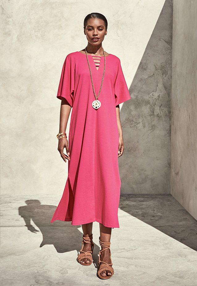 Joan Vass Long Dolman Sleeve Dress w/ Lattice Detail, Petite $178.00 ...