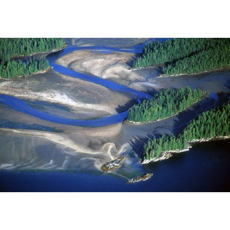 Aerial View Of Manzanita River Delta At Low Tide East Behm Canal Misty Fiords National Monument Wilderness Southeast Alaska Canvas Art - Chip Porter Design Pics (17 x 11)