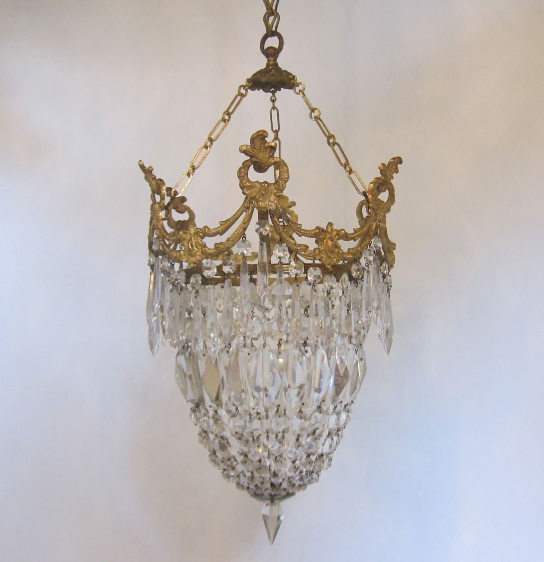 Pair of english chandeliers in the original gilt brass finish and a pair of english chandeliers in the original gilt brass finish and a full complement of glass mozeypictures Choice Image