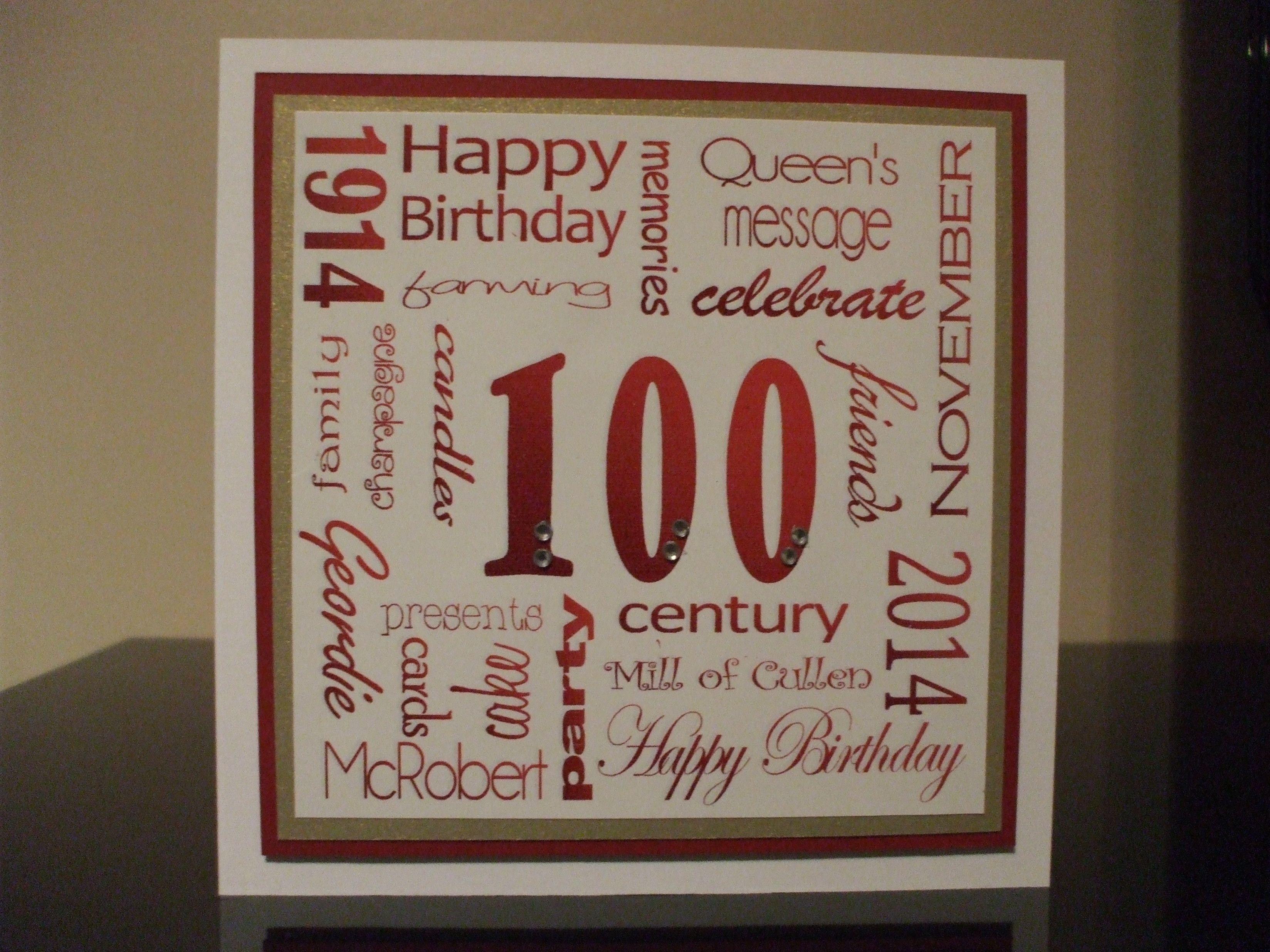 Handmade 100th Birthday Card Using Word Art