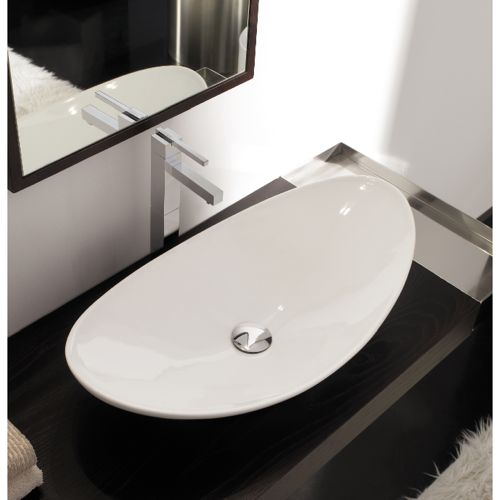 Bathroom Sink Scarabeo 8206 Oval Shaped White Ceramic Vessel
