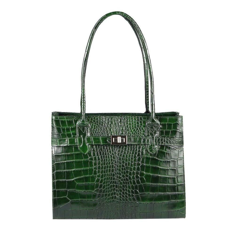 Photo of Italian Women's Real Leather Bag Crocodile Embossing Shopper Briefcase Handbag