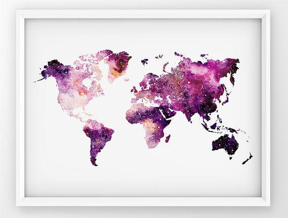 Galaxy World Map, World Map Print, Map Wall Art, World Map Printable, Watercolor World Map, Travel Map Decor, Galaxy World Map Poster #worldmapmural
