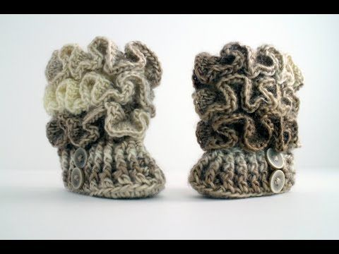 Crochet Ruffled Baby Booties | Schöne häkelarbeiten, Häkelarbeiten ...