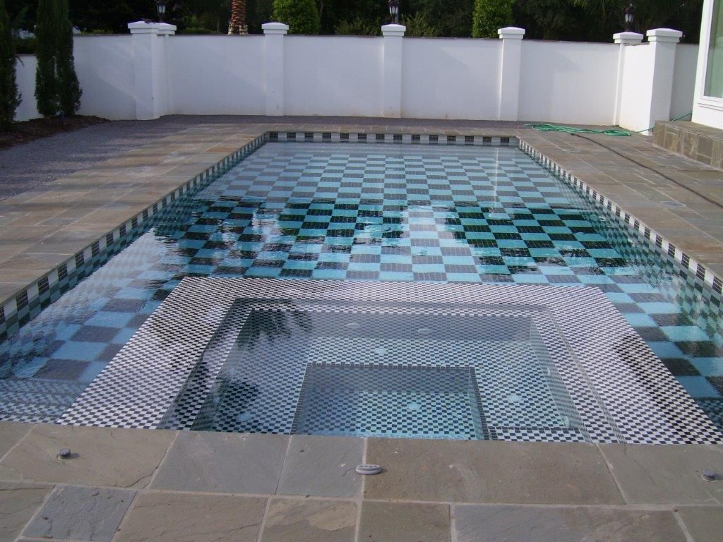 Checkerboard Pool Black And White Glass Tile Design White