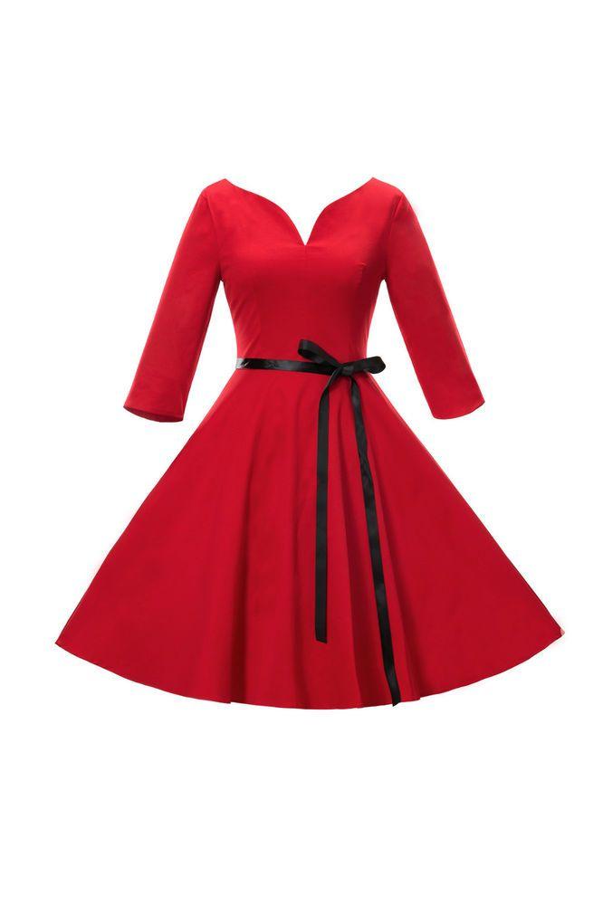 Rockabilly-Kleid, 50er 60er Jahre Retro Kleid Vintage Abendkleid Partykleid 59023dbb6b