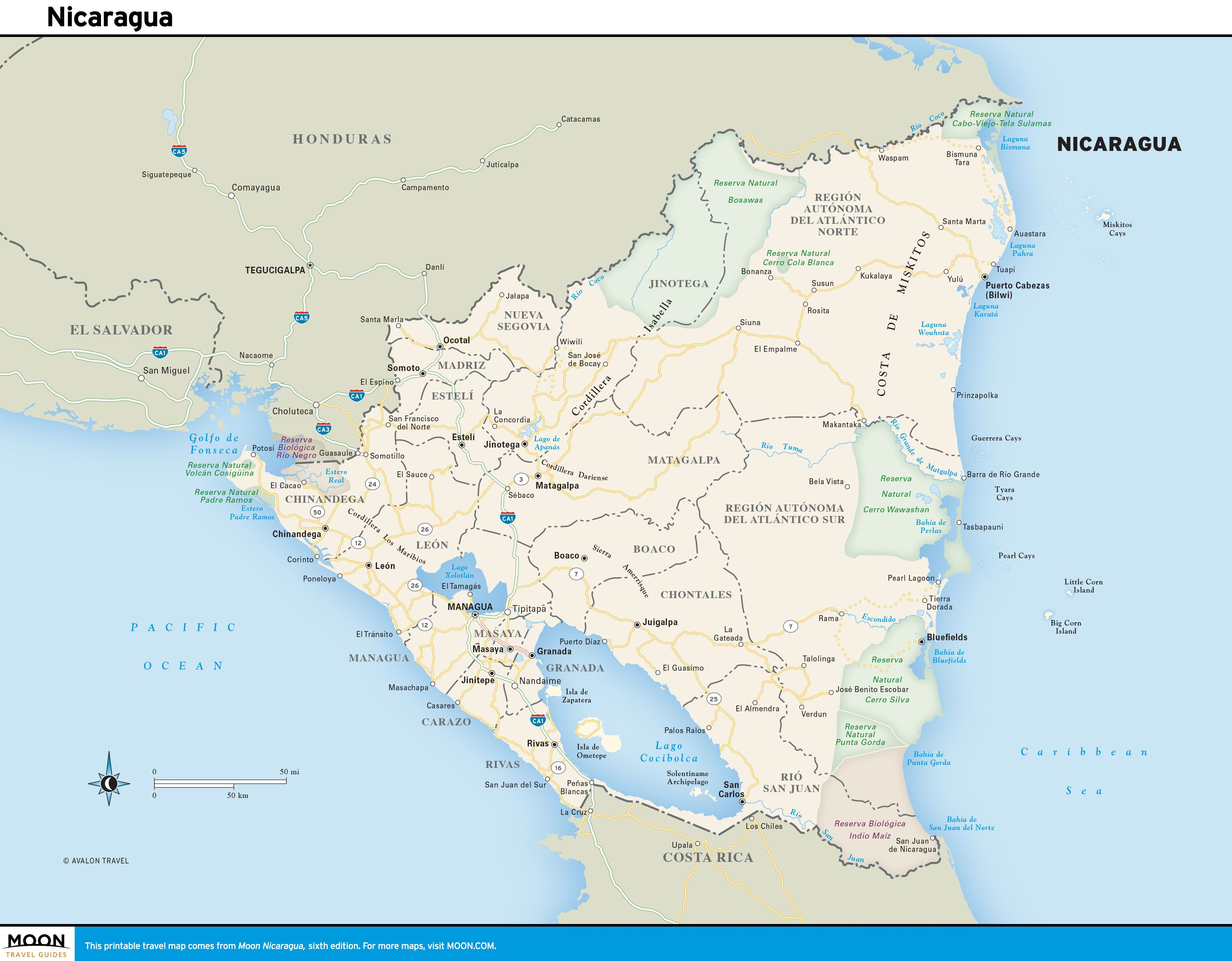 Printable Travel Maps of Nicaragua Travel maps Bluefields and Managua