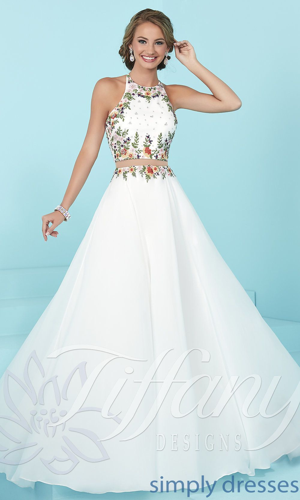 e27ec9670e1 Shop for sleeveless a-line mock two-piece prom dresses at PromGirl. 2017  designer prom dresses with embroidered tops and long full skirts.