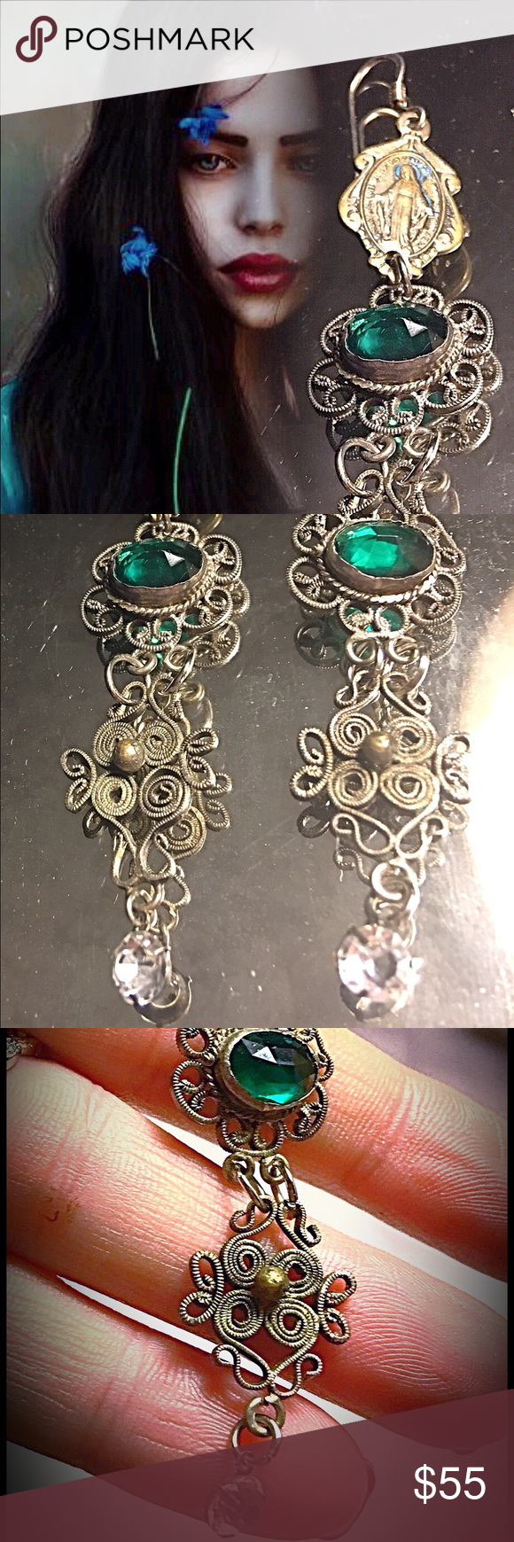 Handmade Assemblage Filigree Emerald Glass Earring Handmade Assemblage Filigree Dangle Earrings Featuring Emerald Green Glass Faceted Beveled Set Dangle Earrings. Silver Metal from 20's & 30's, Small Mary Medallions, Rhinestone Open Back Dangle. Gorgeous Eye-Catching Earrings with Old World Charm. Handmade Jewelry Earrings