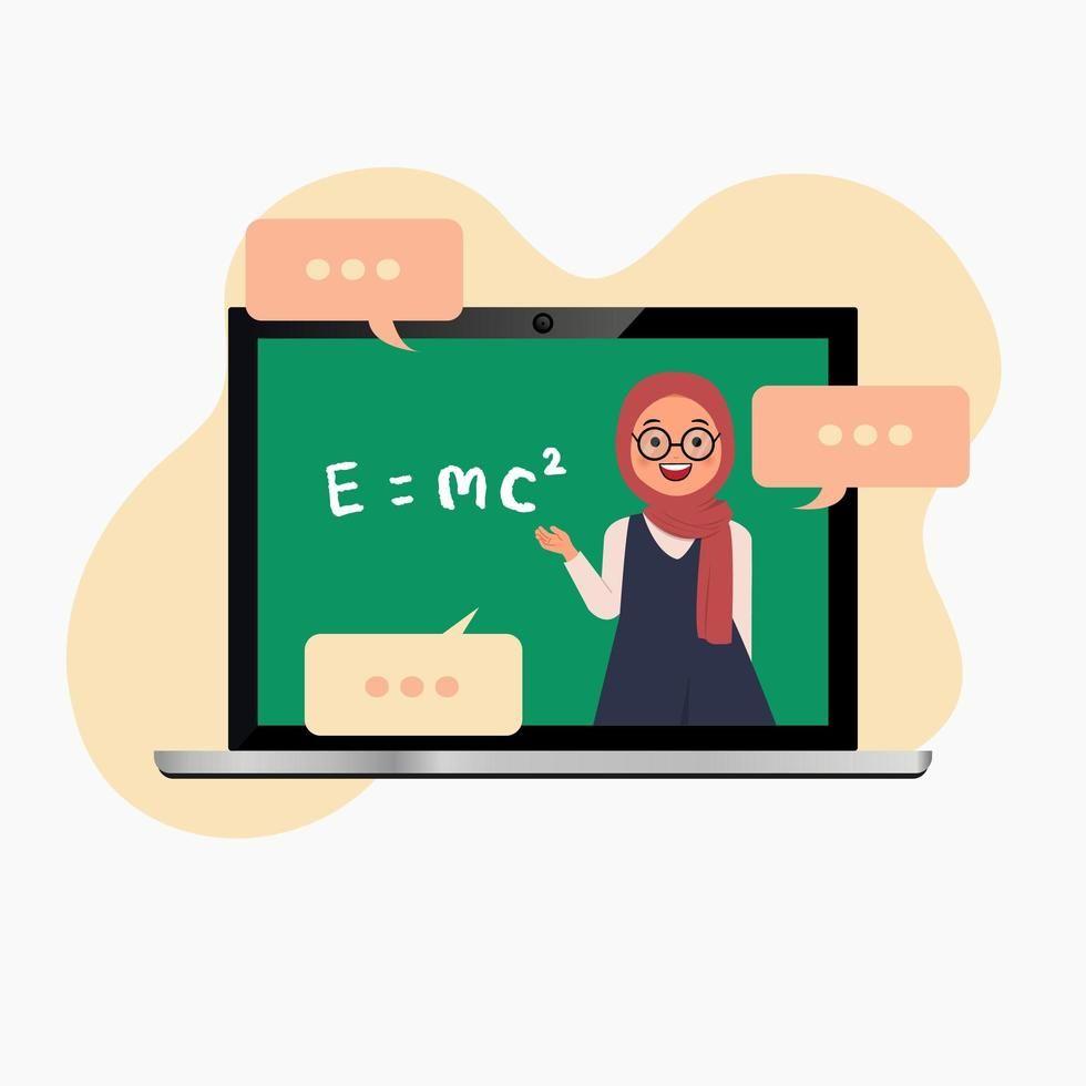 Hijab teacher on laptop teaching online ...