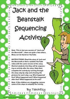 Sequencing Activity Jack And The Beanstalk Jack And The Beanstalk Sequencing Activities Fairy Tales Kindergarten