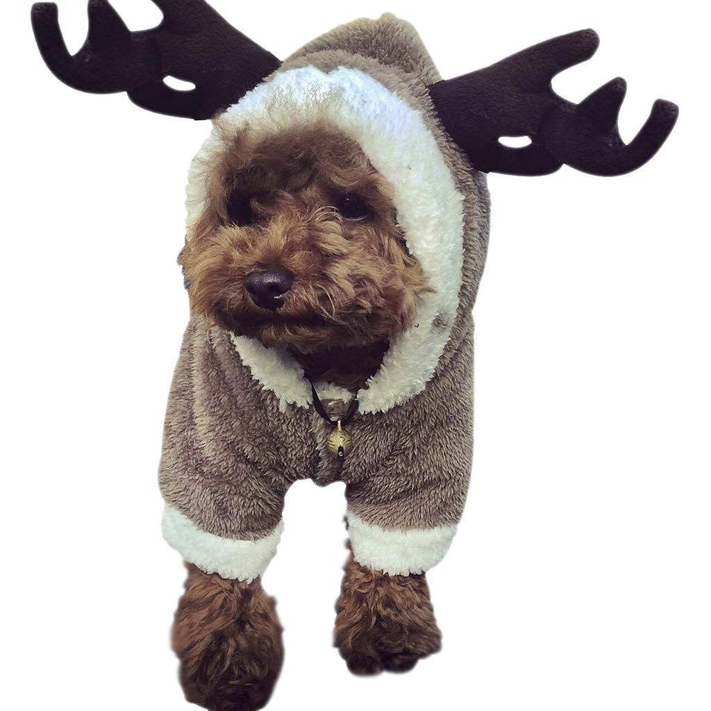 Size S Color Brown Description Pet Dog Christmas Costume Elk Clothes Do In 2020 Christmas Dog Costume Dog Sweatshirt Dog Sweaters