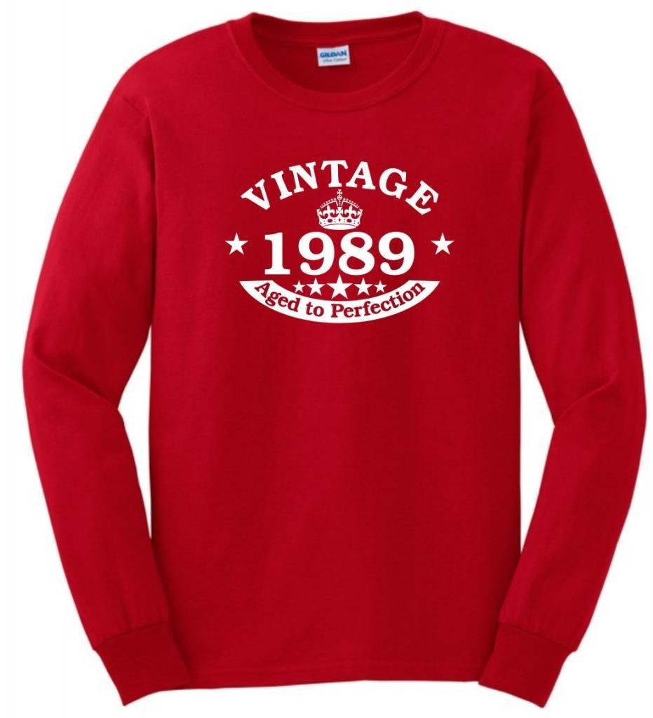 Vintage 1989 Aged to Perfection Seal 25th Birthday Long Sleeve T ...