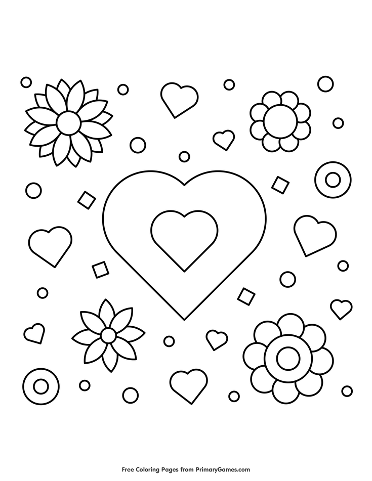 Valentine S Day Coloring Pages Ebook Hearts And Flowers Coloring