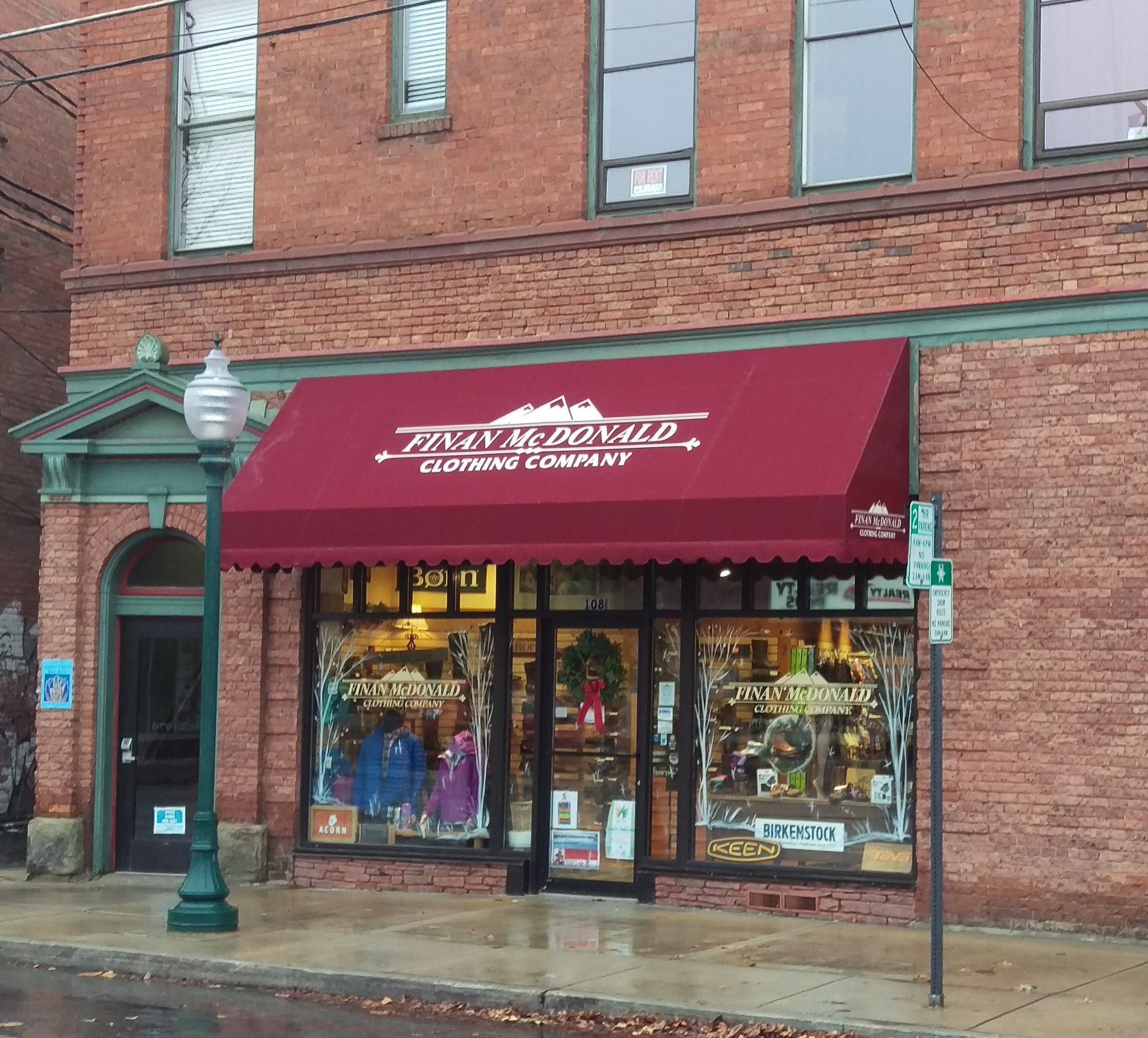 We Just Built And Installed A New Fabric Awning For Finan Mcdonald Clothing Company In Sandpoint Id Fabric Awning Installation Awning