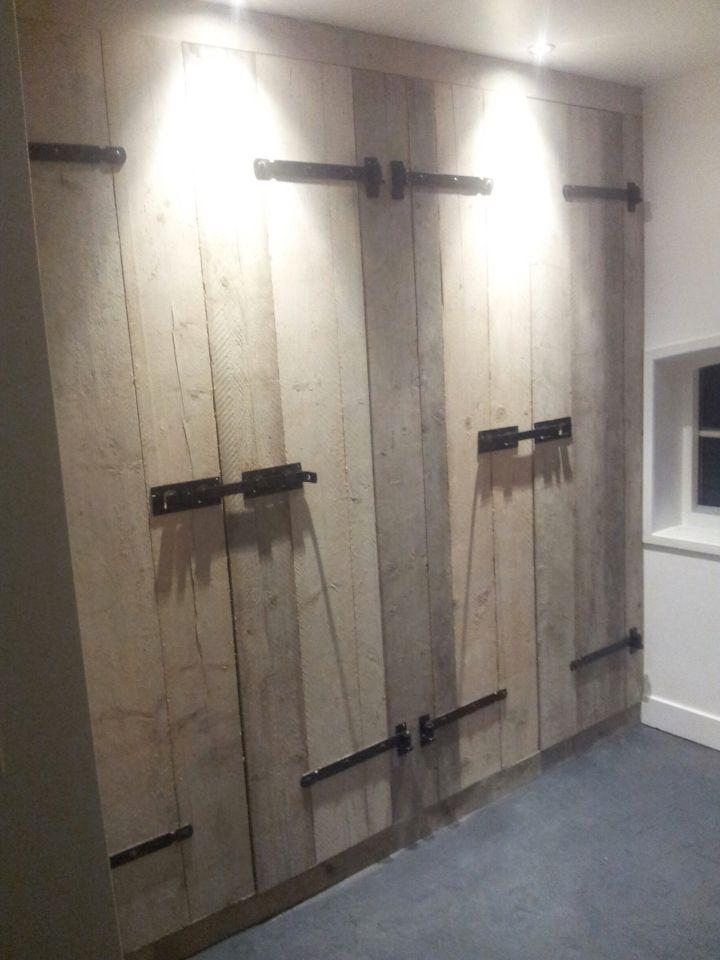kastenwand slaapkamer dubbele kast steigerhout