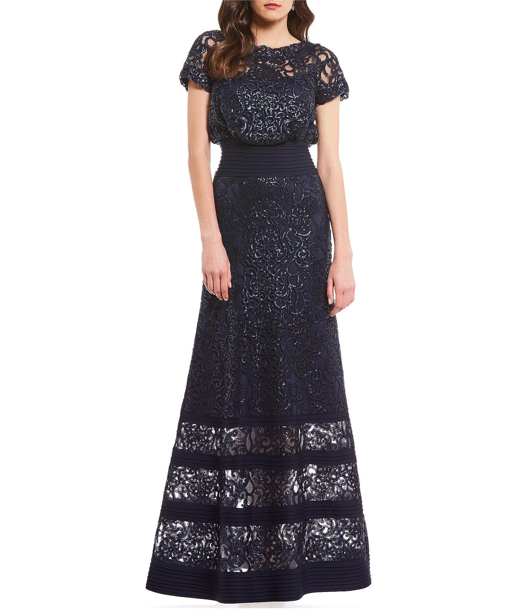 214789580ff Tadashi Shoji Metallic Sequin Lace Blouson Gown  Dillards