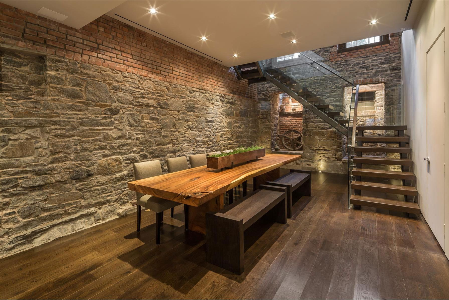 InteriorRustic Feel For Interior Brick Wall Ideas Spectacular With Natural Wooden Poker Dining Table And Flooring Feat Nice