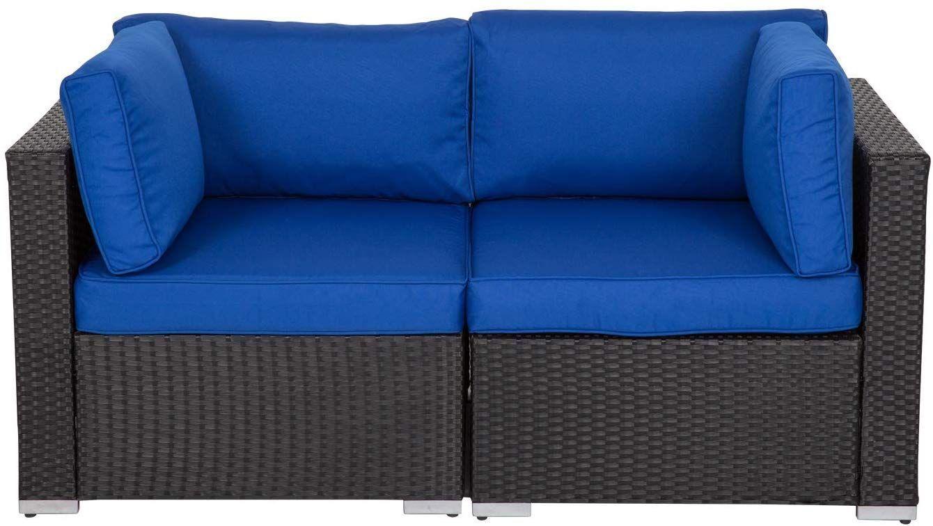 Kinbor Patio Wicker Furniture Outdoor Garden Love Seat Chair Couch