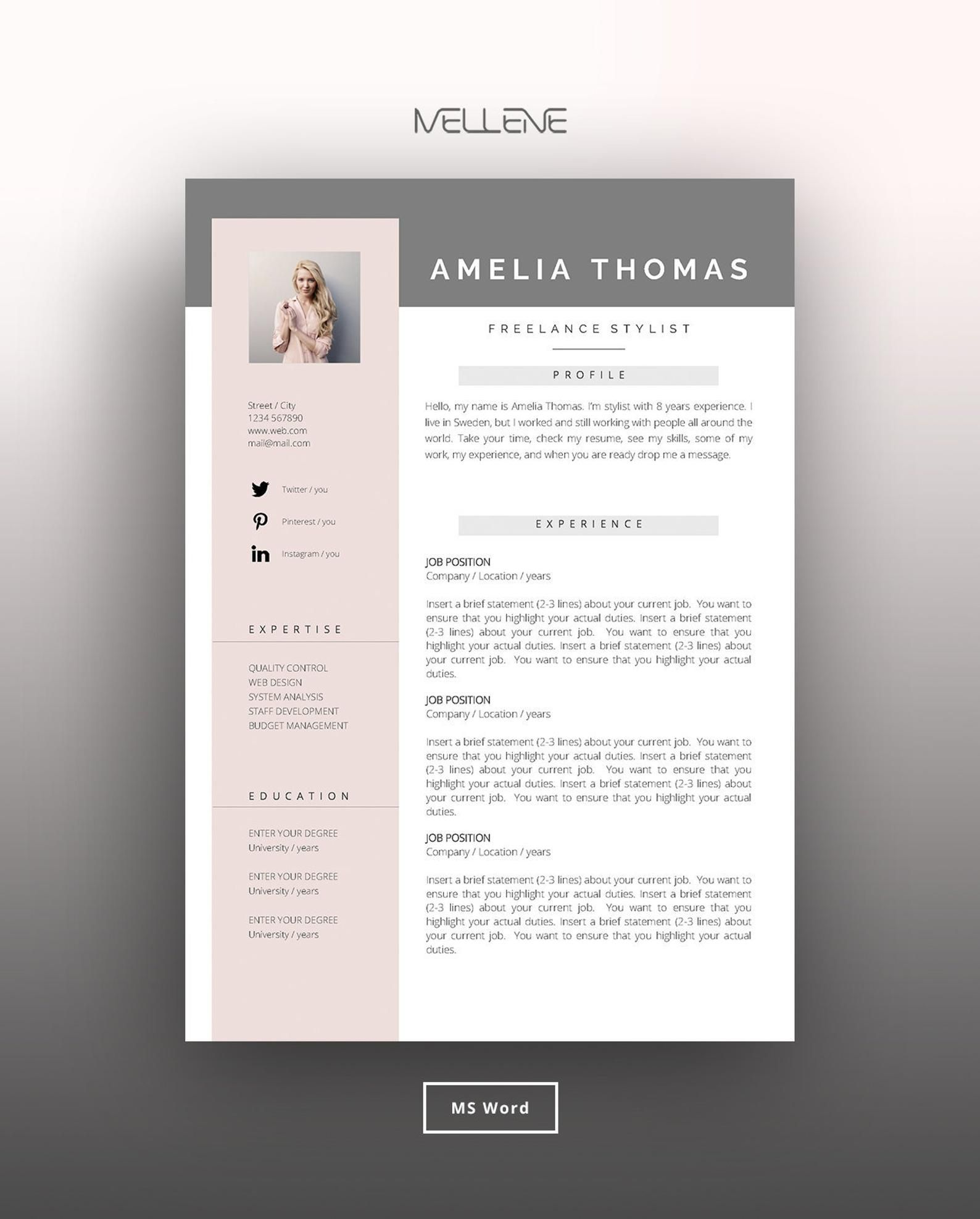 Resume Template 3 Page Cv Template Cover Letter Instant Download For Ms Word Amelia Cv Template Resume Template Lettering Resume template with picture insert
