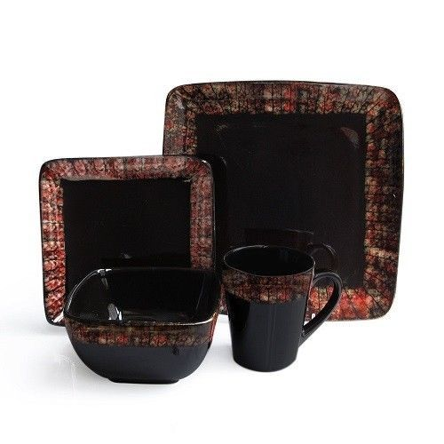 NEW Flame 16-Pc Dinnerware Set Red Black Square Plate Bowl Mug Eat Dinner Place  sc 1 st  Pinterest & NEW Flame 16-Pc Dinnerware Set Red Black Square Plate Bowl Mug Eat ...
