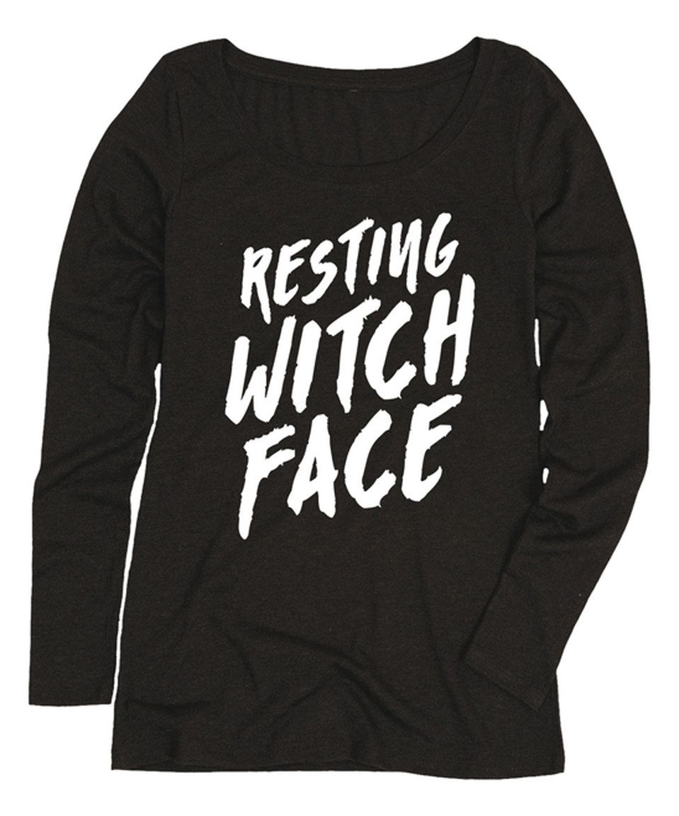 52355335880 This Black  Resting Witch Face  Long Sleeve Tee - Women by Festuvius is  perfect!  zulilyfinds