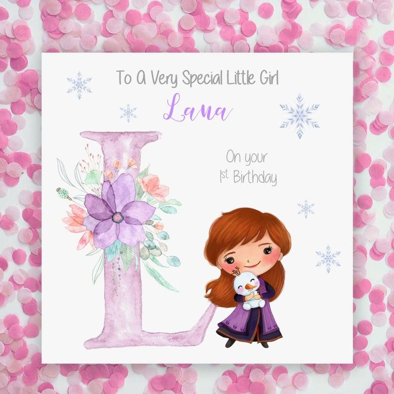 Anyage Personalised 1st Birthday Card Princess Anna Birthday Etsy First Birthday Cards 1st Birthday Cards Baby Birthday Card