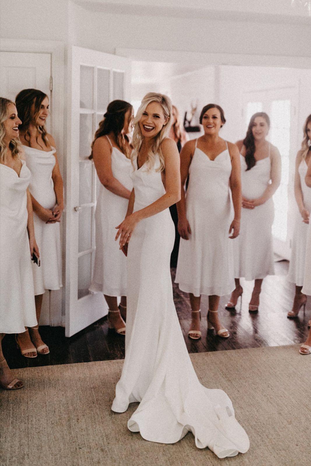 White Bridesmaid Dresses Austin, TX Elegant Barn Wedding