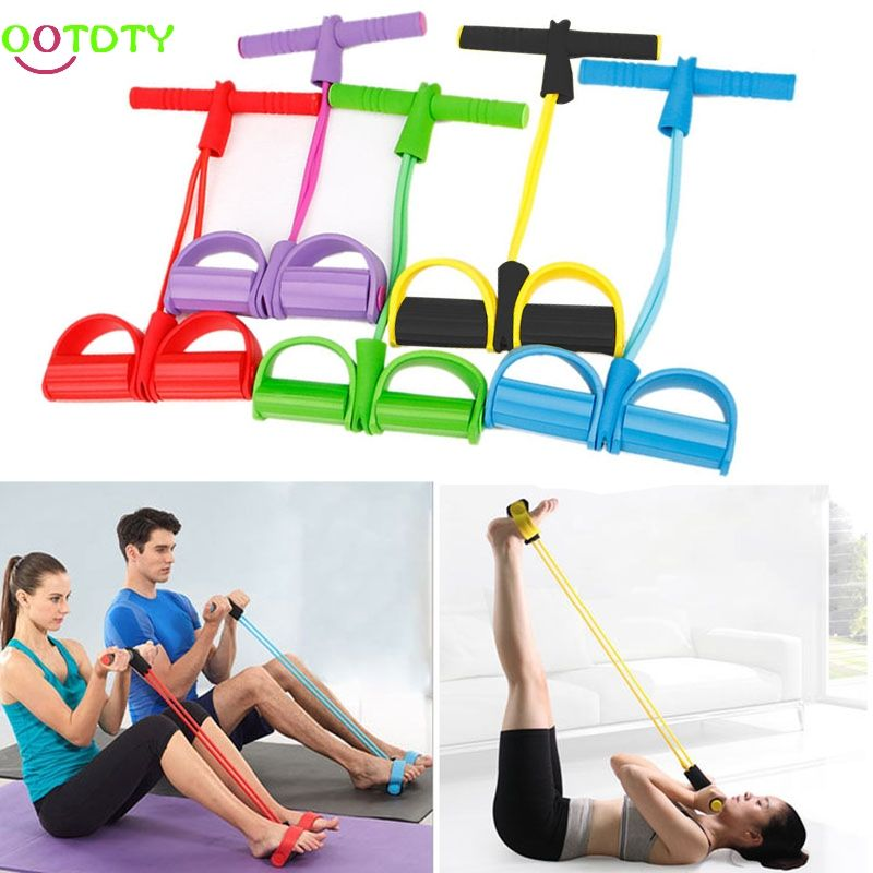 4-Tube Foot Pedal Pull Rope Resistance Yoga Exercise Sit-up Fitness Equipment