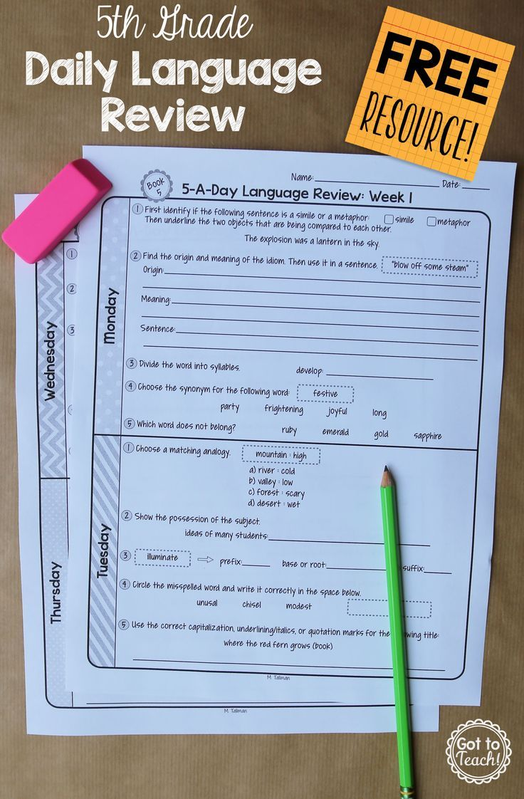 Photo of 5th Grade Daily Language Spiral Review – 2 Weeks FREE