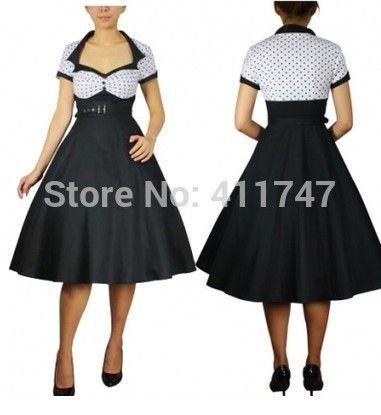 50s Vintage Dress White Bodice Rockabilly Polka Dot Dress 50s Swing Dress Plus Size S-6XL