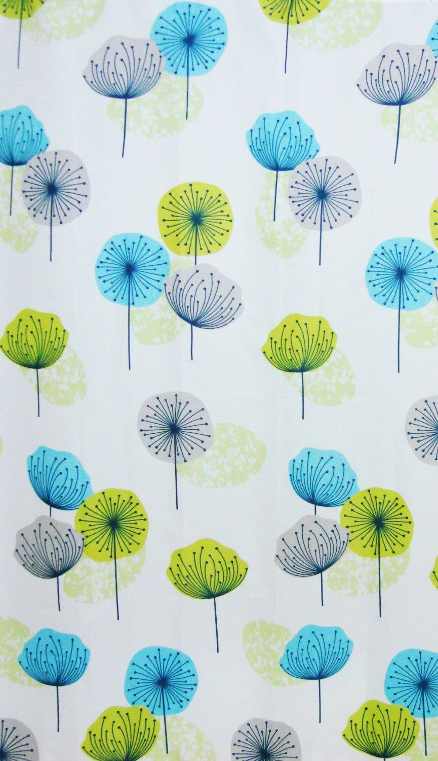 Fabric Bathroom Shower Curtain Dandelion Lime Green Blue 180 X Cm With Hooks Hallways Co Uk Kitchen Home
