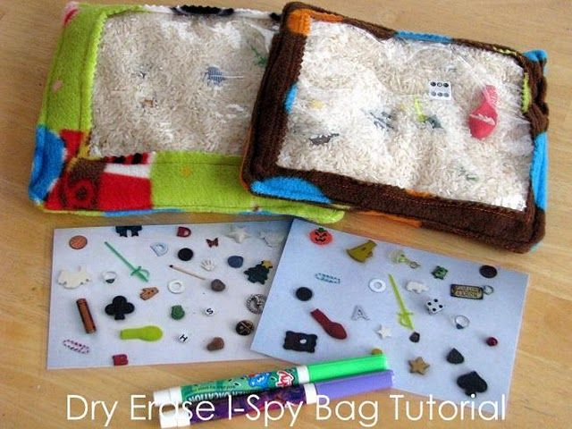 Dry Erase I-Spy Bag Tutorial - good things to include letters A-Z, quarter, nickel, dime, and penny, an assortment of more than 50 hidden objects and 3 cards attached to bag with list of items to find, games and goals.