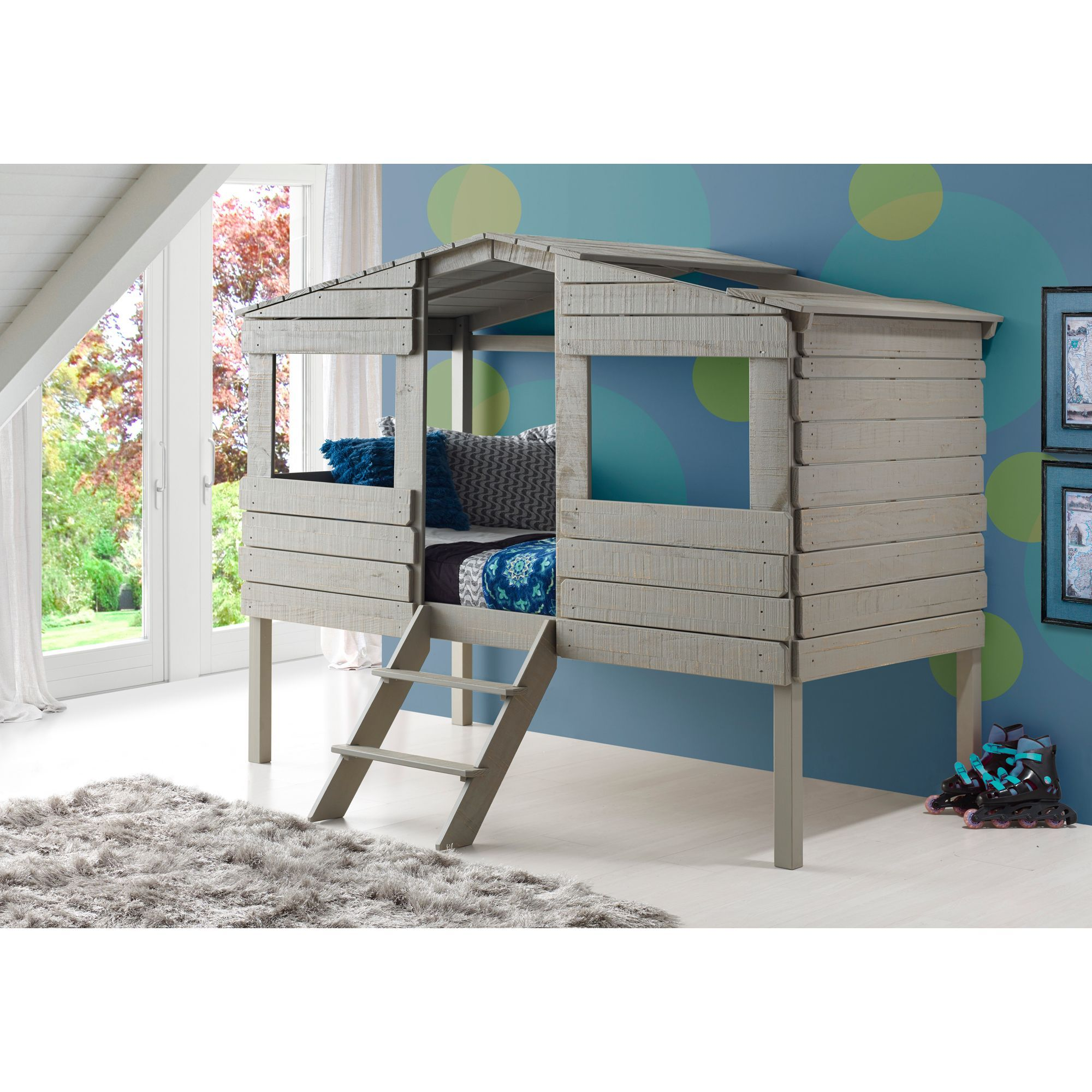 Grey loft bed with desk  Donco Kids Rustic Grey Pine Wood Twinsize Tree House Loft Bed Twin