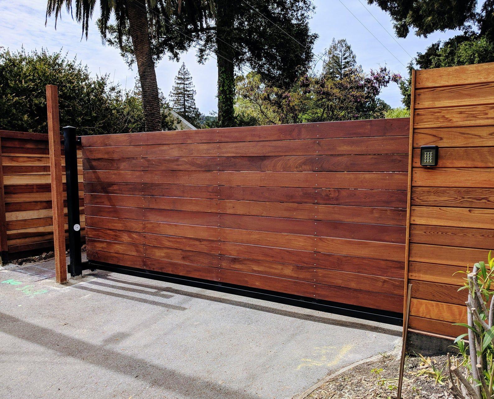 Wooden Driveway Gate Kit Wrought Iron Horizontal Ironwood Etsy In 2020 Wooden Gates Driveway Wood Gates Driveway Wood Gate