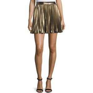 Haute Hippie Pleated Lam& Mini Skirt