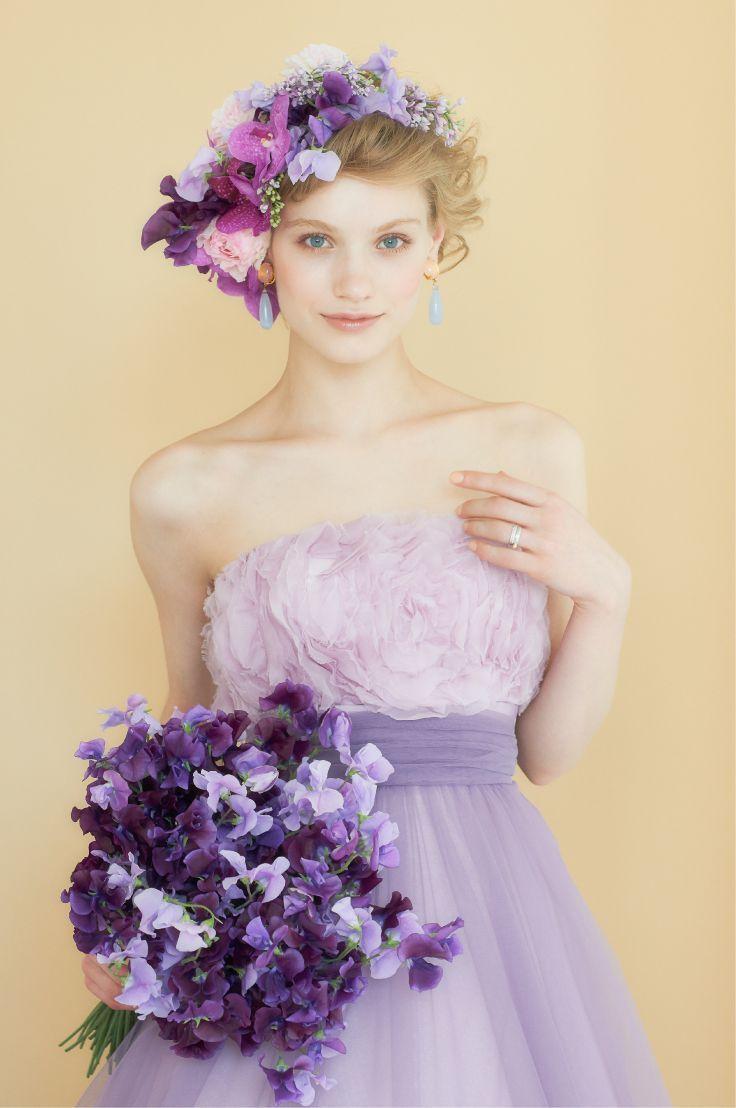 人気no.1カラー!お色直しは誰よりも可愛い紫色のウェディングドレスが