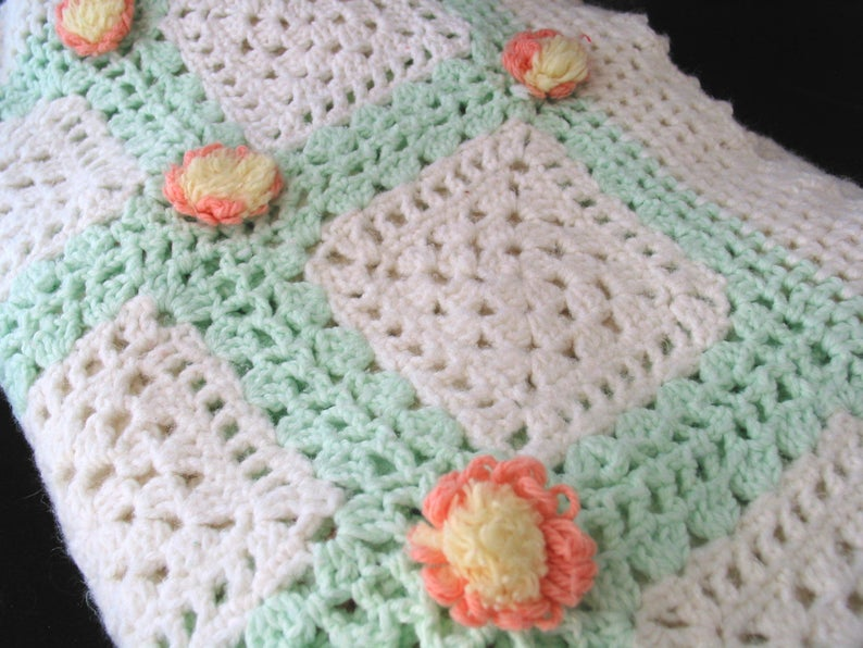 Vintage Crocheted Granny Square Green and White Blanket