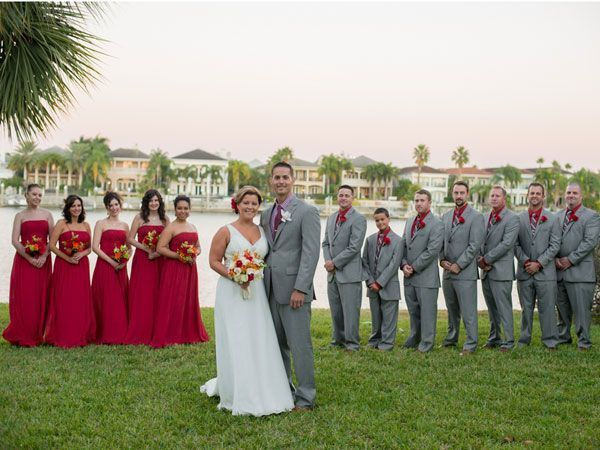 For colors. Image result for wedding berry red gray suit | Party ...