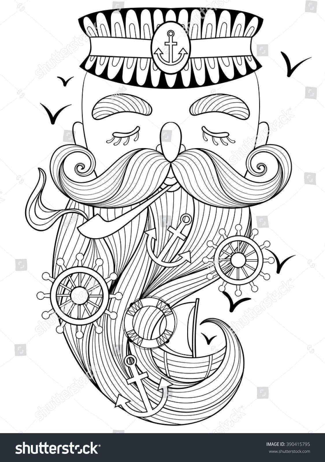 Vector zentangle old sailor, seaman smoking pipe, captain, fisherman ...