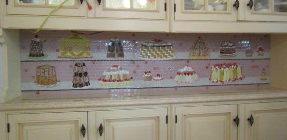kitchen mosaic backsplash-cakes