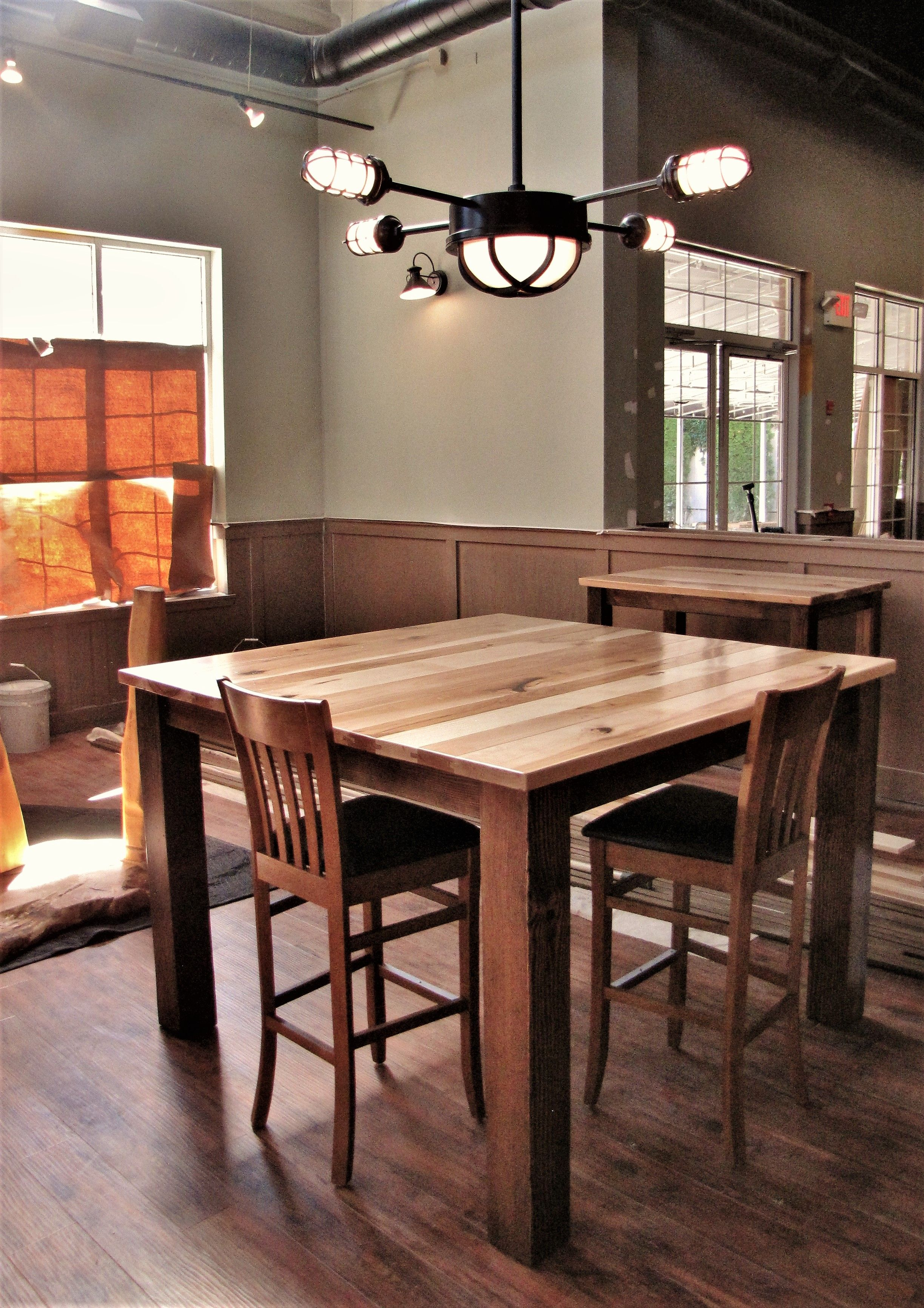 Traditional square high top table makes room for many ...