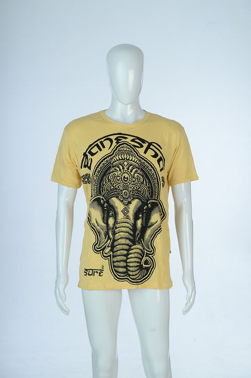 f8c5900a5d930 Thai Style Clothing – Mens T-Shirt-Elephant Face-Yellow