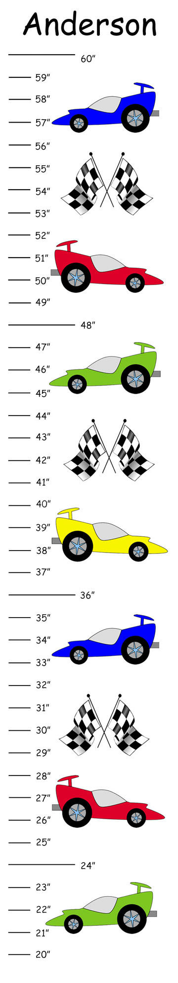 Personalized Race Cars Canvas Growth Chart by CamieTurnerDesigns