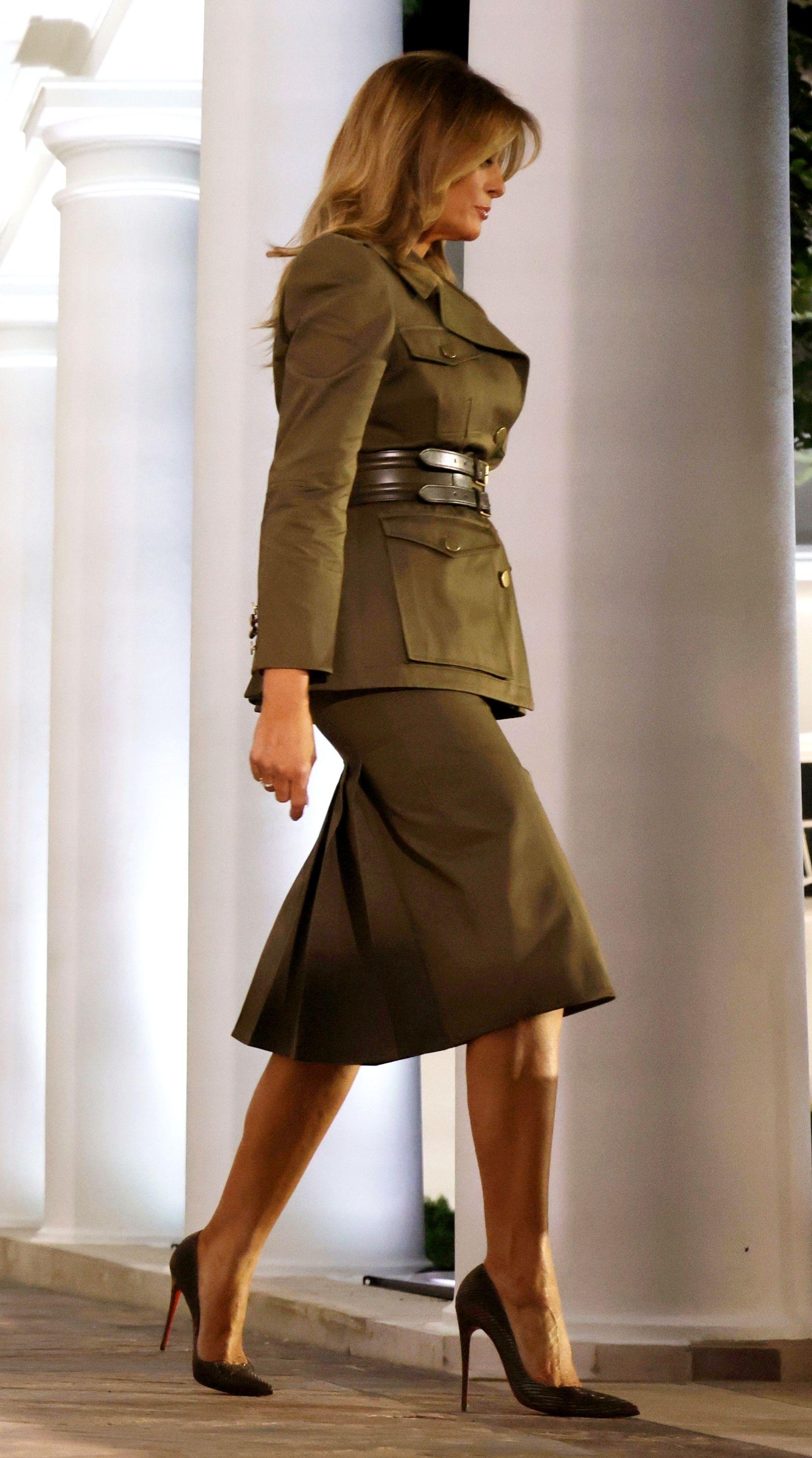 FLOTUS Melania Trump arrives in the Rose Garden to deliver